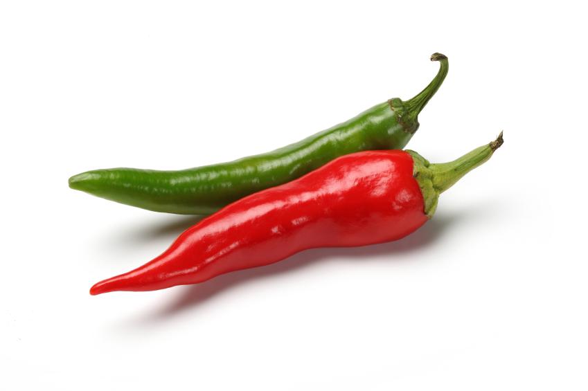 Les piments verts et rouges
